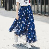 网纱星星半身裙2018夏季新款大摆半身长裙高腰雪纺裙女裙 蓝色