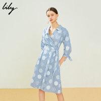 【超值一口价 到手价:141】Lily春款不对称领波点印花系带衬衫式连衣裙119240C7108