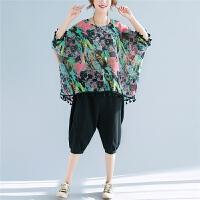 雪纺衫女夏季短袖复古民族风250斤大码女装胖妹妹宽松流苏T恤上衣