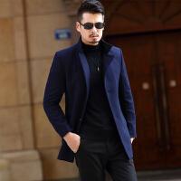 中年男士毛呢大衣外套2017秋冬新款羊毛呢子上衣中长款修身爸爸装