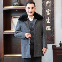 毛呢大衣男中长款加厚翻领商务休闲男士冬装加绒外套父装
