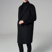 冬季妮子大衣男中长款韩国宽松呢子风衣加厚毛呢外套男青年潮大码 黑色 M
