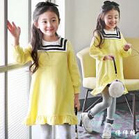 女童长袖连衣裙秋冬装新款韩版学院风宝宝加绒裙子儿童公主裙