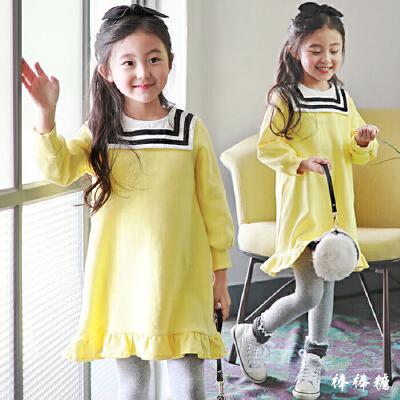 女童长袖连衣裙秋冬装新款韩版学院风宝宝加绒裙子儿童公主裙 发货周期:一般在付款后2-90天左右发货,具体发货时间请以与客服协商的时间为准