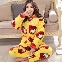 冬季珊瑚绒睡衣女三层加厚夹棉睡衣法兰绒长袖中年家居服保暖套装 黄色女孩