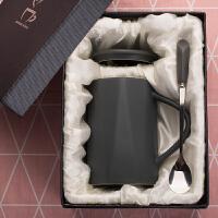创意女学生陶瓷马克杯韩版咖啡杯带盖勺家用水杯子大容量牛奶杯 (礼盒装)