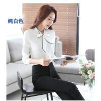 2017春夏新款女士衬衫白色蝴蝶结长袖修身显瘦OL职业装上衣工作服