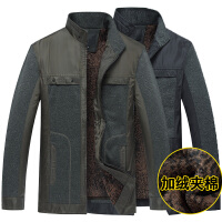 秋冬季中年男士夹克加绒中老年人爸爸装加棉厚外套40-50岁60棉袄