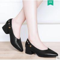 莱卡金顿新款女鞋尖头内增高低帮浅口套脚铆钉单鞋凉鞋春夏季潮鞋子女 JBBN1600
