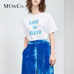 MOCO圆领字母白色纯棉t恤女chic短袖夏季新款修身上衣显瘦