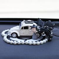 {夏季贱卖}汽车摆件可爱小丸子车载摆件蝴蝶结汽车饰品香水座个性女士车内装 蝴蝶结白车+珍珠垫
