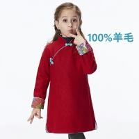 思普瑞小屋红色羊毛呢儿童旗袍长袖连衣裙秋冬新品女童旗袍裙 红色