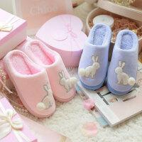 棉拖鞋女厚底冬季韩版可爱情侣家居防滑室内月子包跟保暖毛拖鞋男