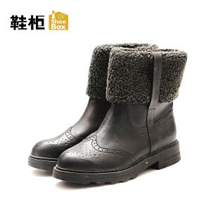 达芙妮集团/鞋柜冬款休闲短靴潮平底简约短靴女靴-1
