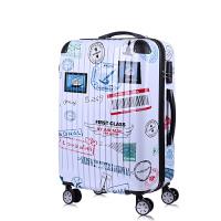 韩版行李箱拉杆万向轮小清新20寸24少女旅行箱密码可爱大学生箱子 白色 飞机邮票
