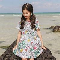 女童连衣裙夏装新款韩版中大童沙滩裙海边度假短袖儿童裙子潮