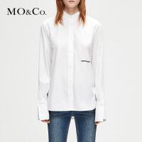 MOCO冬季新品字母刺绣立领中性帅气衬衫MA184SHT104 摩安珂