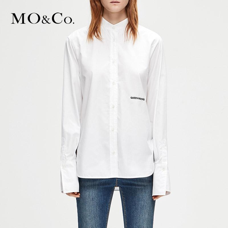 MOCO冬季新品字母刺绣立领中性帅气衬衫MA184SHT104 摩安珂 满399包邮 纯棉材质 个性字母刺绣