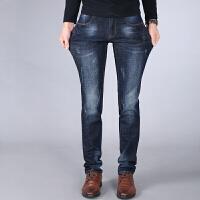秋季弹力牛仔裤男士常规款小脚男裤子男装有弹性修身直筒长裤大码 复古蓝色