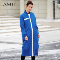 【开学季 预估券后价:609元】Amii极简欧货撞色90白鸭绒羽绒服女2018冬新款棒球领长款修身外套