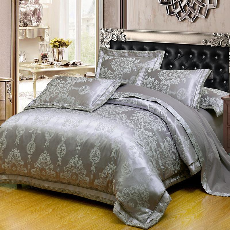 家纺床上用品四件 欧式天丝纯棉贡缎提花四件套