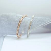 韩国进口极细简约一排钻戒指18K包金钛钢镶钻彩金食指戒尾戒 玫瑰金--内直径1.5CM * 美4