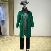 双面呢大衣女冬装新款 韩版九分袖百搭落肩中长款毛呢外套