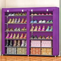 简易鞋柜 鞋架 多层 铁艺双排收纳防尘布鞋柜现代简约 f3v
