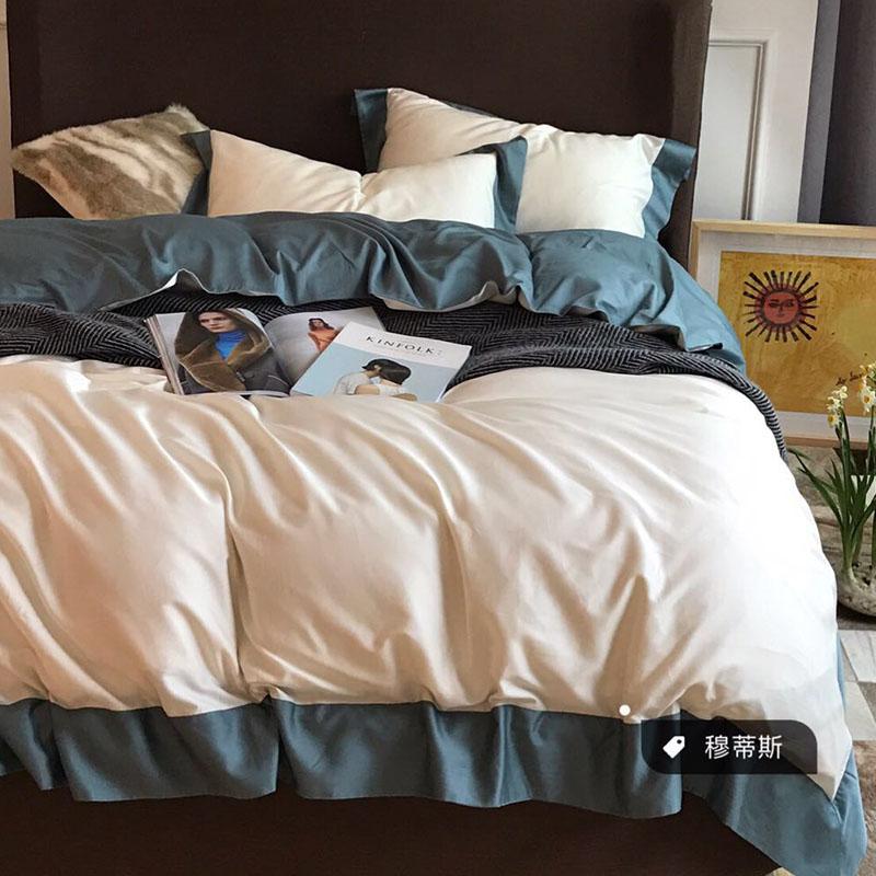 床单四件套床笠款全棉纯棉60支1.8米床上用品纯色简约贡缎四件套