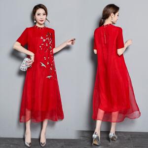 RANJU然聚 2018夏季女装新品新款绣花裙子复古宽松A字裙连衣裙