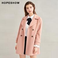 11.8~11.13到手价507叠券省更多红袖毛呢外套少女开叉双排扣100%羊毛双面呢大衣女
