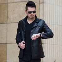 秋冬季新款男装休闲中年男士真皮皮衣夹克帅气绵羊皮外套 黑色 180/XL