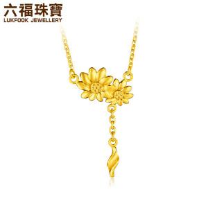 六福珠宝足金吊坠金盏花黄金项链吊坠女锁骨链吊坠     GMGTBN0008