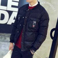 秋冬新品韩版男士修身青少年冬装日系复古绣花棉衣加厚款羽绒
