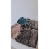 男女童含羊毛不规则拼色麻花粗线毛衣开衫 儿童毛衣外套