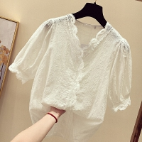 白色蕾丝上衣女夏装2018新款韩版漏锁骨V领镂空洋气雪纺短袖小衫 白色