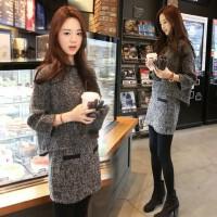 韩观2018秋冬季新款韩版女装显瘦毛呢连衣裙九分袖呢子短裙两件套装潮