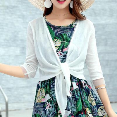 夏装沙滩外搭开衫女薄款小披肩罩衫空调衫针织衫大码外套防晒衫