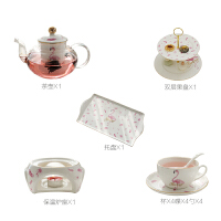 火烈鸟花茶壶套装玻璃煮水果茶壶陶瓷茶具家用蜡烛加热茶套装 +托盘+双层果盘