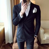 韩版条纹双排扣西装 绅士男士职业装西服套装 西装西裤正装两件套 藏青色