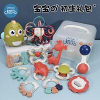 知贝婴儿手摇铃0-1岁新生儿玩具宝宝抓握训练六牙胶0-3-6-12个月9