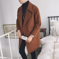 翻领毛呢大衣中长款呢风衣外套男 浅棕色