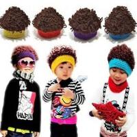 儿童假发帽子韩版小孩手钩爆炸头卷发帽秋冬宝宝毛线帽子拍照帽潮