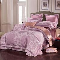 家纺紫色提花全棉四件套床上用品纯棉被套彩精棉欧式别墅六十件套