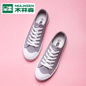 木林森女鞋秋季透气系带百搭板鞋低帮学生帆布鞋平底单鞋女