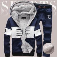 加绒保暖套装男冬季新款韩版青年连帽长袖运动服两件套