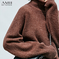 【AMII大牌日 2件4折】Amii极简慵懒风时尚高领毛衣女2018冬新高领宽松长袖外穿开衩上衣