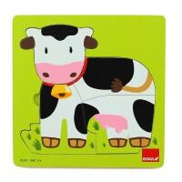 木玩世家 西班牙品牌GOULA果乐 儿童木制拼图 牛成长拼图53028