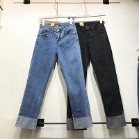 韩国ulzzang2018春装新款qiqi撞色直筒长裤女修身百搭高腰牛仔裤