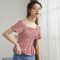 【1件2.5折48.42元】唐狮年新款短袖格子衬衫女锁骨上衣心机设计感温柔风复古衬衣A